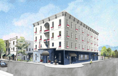 Rendering of Atticus Hotel in McMinnville, Oregon