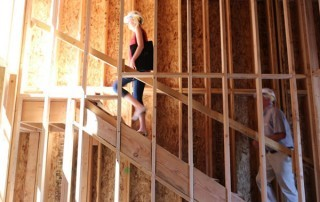 Erin Stephenson, co-owner of Atticus Hotel, on a hard hat construction tour
