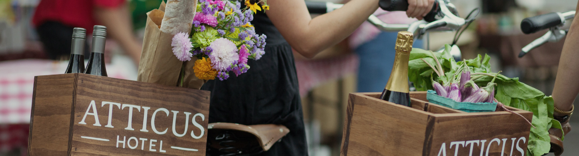 Atticus Hotel guests shop Historic Downtown McMinnville for fresh food, flowers and local wines.