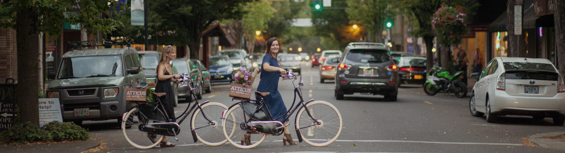 Atticus Hotel guests tour Historic Downtown McMinnville on Dutch style bicycles.