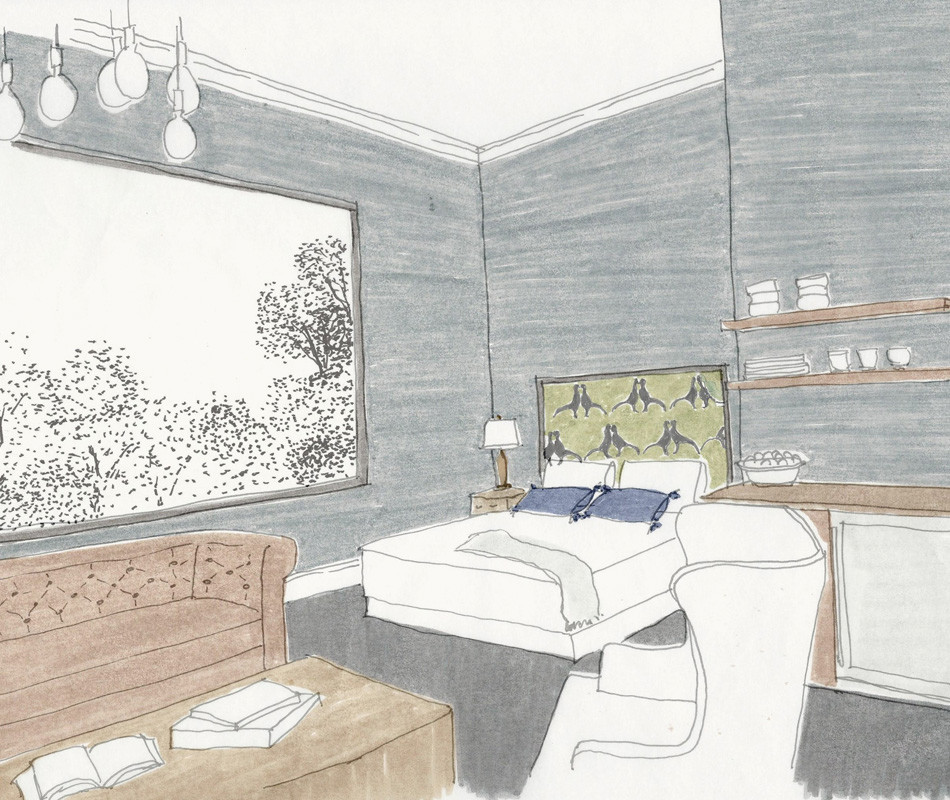 Rendering of Atticus Hotel Luxury Bunkhouse Bedroom