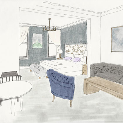 Rendering of a Studio Luxe at Atticus Hotel in McMinnville, Oregon