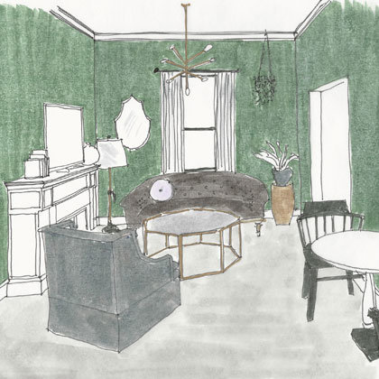 Rendering of a Living Room in a Suite at Atticus Hotel in McMinnville, Oregon