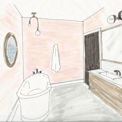 Rendering of a Suite and Suite Luxe Bathroom at Atticus Hotel in McMinnville, Oregon