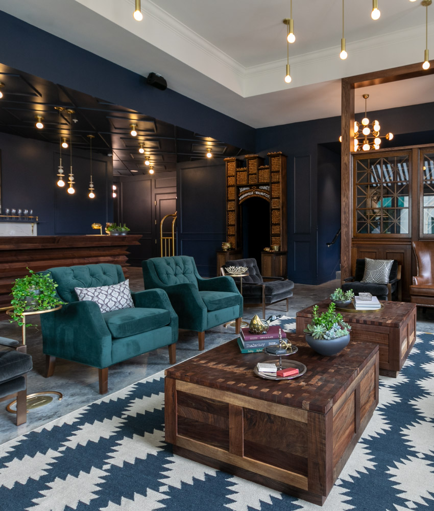 The Lobby of Atticus Hotel in McMinnville, Oregon